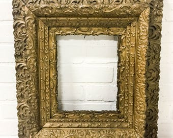 Antique 18x20 Victorian Picture Frame Ornate Wood Gesso Scroll Floral Details