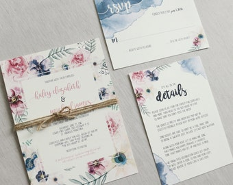 Genial Floral Wedding Invitation, Rustic Wedding Invitation, Blush Pink Wedding  Invitation, Rustic, Boho