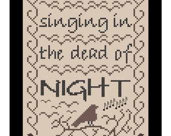 Cross Stitch Pattern - Chart 'Blackbird Singing in the Dead of Night' by Know Knots Needle Works - PDF File Format