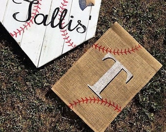 Baseball Burlap Garden Flag • Rustic Yard Decor • Monogram