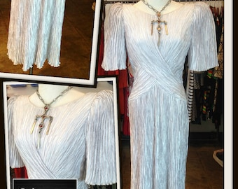 Vintage Mary McFadden Silver Gray Dress Fortuny Vertical Pleating FREE SHIPPING