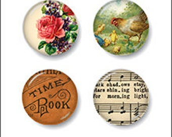October Afternoon Farmhouse Tin Pins, Farm/Country Themed Flair Buttons, Scrapbook Embellishment
