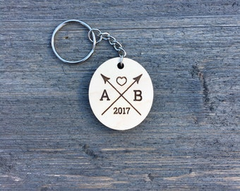 Personalized Oval Keychain, Wood Keychain Engraved Cute Anniversary Wedding Birthday Christmas Bridesmaid Key Chain Ring Gift