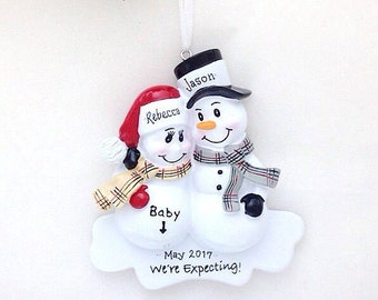 FREE SHIPPING  Expecting Parents Christmas Ornament / We're Expecting Ornament /  New Parents Ornament / New Baby Ornament / Snowman