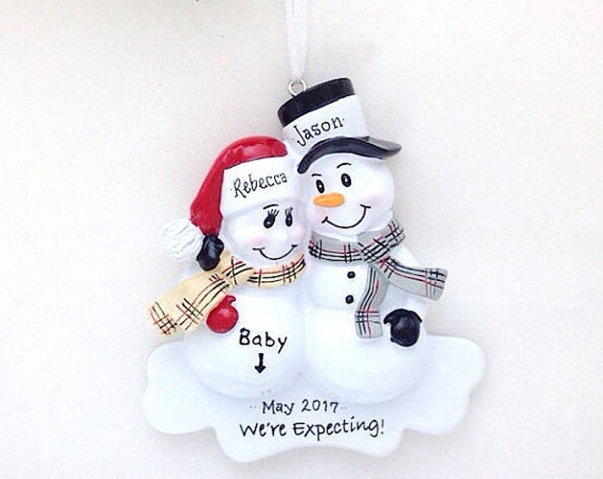 Featured listing image: FREE SHIPPING  Expecting Parents Christmas Ornament / We're Expecting Ornament /  New Parents Ornament / New Baby Ornament / Snowman
