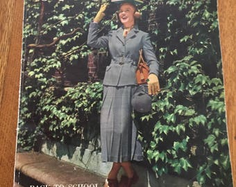 1949 Seventeen Magazine, Vintage Reference Guide Clothing, Shoes, Advertising, August Back to School issue, Movie Star Ads, etc