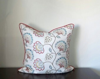 """Decorative Pillows, Multi-Color Floral Embroidered Pillows, Coconut Button, Available in One Size only - 24""""x24"""" - READY TO SHIP"""