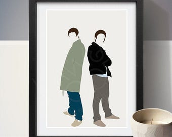 Liam Gallagher & Noel Gallagher Poster, People, Art Print, Home Decor