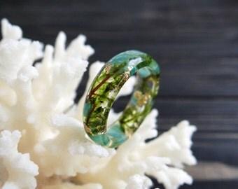 Gemstone ring amazonite ring anniversary ring birthstone ring virgo aquarius gemini libra moss terrarium jewelry resin jewelry throat chakra