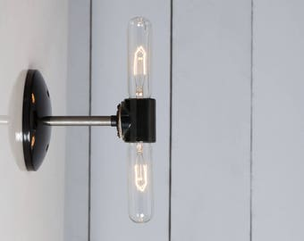 Double Steel Wall Sconce Light - Bare Bulb
