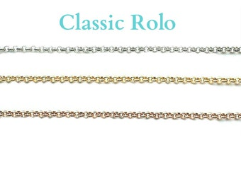 "Chain for Glass Memory Locket, Classic Rolo 24"" Chain for Floating Charm Locket Necklace, Personalized Floating Charm Locket Pendant Chain."