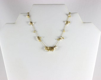 Gold over Sterling Silver Crystal and Pearl Bead Necklace Adjustable 16 to 18 inch Chain