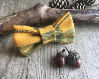 Dog bow tie. Cat bow tie. Luxury soft, woven cotton bow tie. Dickie bow. Clip on or elastic. Autumnal, rustic, checked, tartan. Yellow.