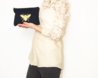 Bridesmaid gift/ Bee clutch bag/ Mothers day gift/ Embroidered bag/ Make-up bag/ Bee appliqué bag/ Gifts for her