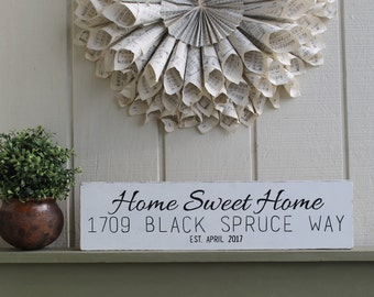 Home Sweet Home Sign,Address Sign,Housewarming Gift,Home Sweet Home Sign,Realtor Closing Gift,First Home Gift, Realtor Gift, First Home Gift