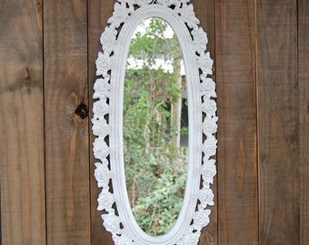 Mirror, White, Shabby Chic, Cottage, Syroco, Hand Painted, Nursery Decor, Hanging, Wall, Wedding, Oval, Upcycled Vintage, Ornate, Roses