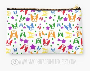 Boston Terrier zipper pouch, sleeve, pocket, clutch, bag, organizer - color OPTIONS - Boston Terrier fabric print - perfect for gifts!!
