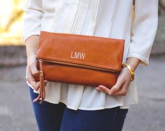 Monogrammed Clutch   Tassel Fold Over Crossbody  Faux Leather   Mother's Day, Christmas, Bridesmaid Gift, Gift for Her    Multiple Colors