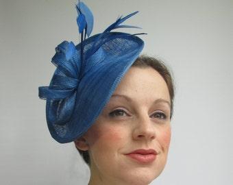 Royal Blue Hatinator - Blue Hat, Races Hat, Wedding Hat, Fascinators, Blue Headpiece, Saucer Hat, Sinamay Hat, Tea Party