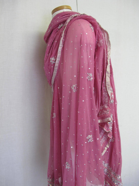 metallic silk shawl mauve sari indian shawl chiffon shawl beaded shawl metallic shawl silk wrap