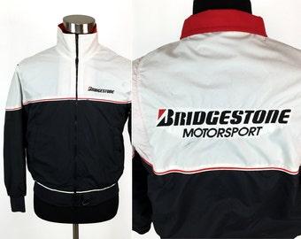Vintage 80s BRIDGESTONE Tires - Motorsport Jacket SMALL // Racing // Nascar // Drag // Automotive // Rubber // King Louie Pro Fit // Coat