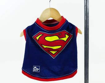 Blue Red Superhero Comic Book Small Dog T-shirt Upcycled Sleeveless Red Trim Girl or Boy Dog Ready to Ship