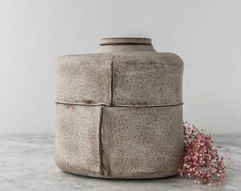 Beautiful Rustic Matte Cremation Urn with Seams - Large Dog Urn - Keepsake Urn