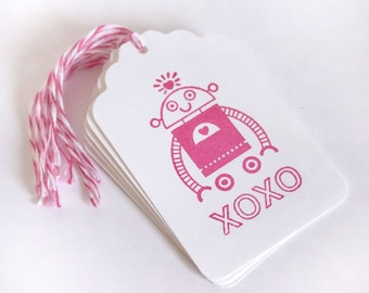 Robot Valentine xoxo Tag Set 6 Blank gift present tag love teal red bakers twine valentines day