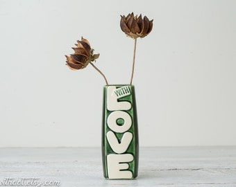 Vintage Love Vase - Green Word Vase - With Love McCoy Flower Vase - Retro McCoy