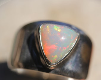 Bright Ethiopian Fire Opal Ring, Size 9, Wide Band Ring, Sterling Silver Setting, Solid Opal Ring,  Welo Opal WOR26