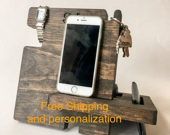 Iphone docking station, iphone stand, mens cell phone dock, mens phone docking station, mens cell phone stand, phone holder, phone dock,
