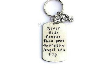 Never Ride Faster than Your Guardian Angel Can Fly Keychain - Motocross - Motorcycle Gifts - Dirt Bike - Gift for Him - Motocross Gifts