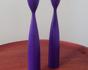 2 Purple Danish Candleholders / Tulip Shaped Minimalist Design / Holiday Gift Idea