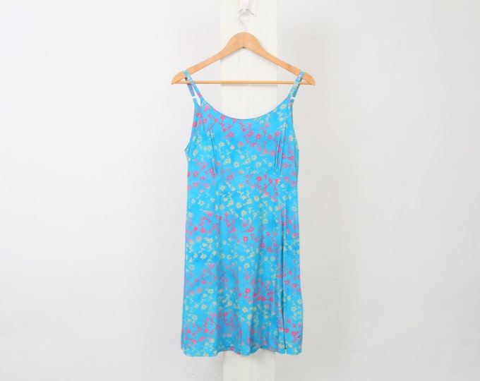 Blue RAYON 90s Strappy Dress Womens M Medium Pink Yellow Flower Floral Slip Shift Mini Vintage Boho Summer Grunge Zip Up