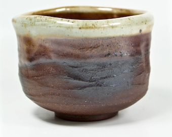 wood fired shino tea bowl - stoneware ceramic pottery - chawan - teacup