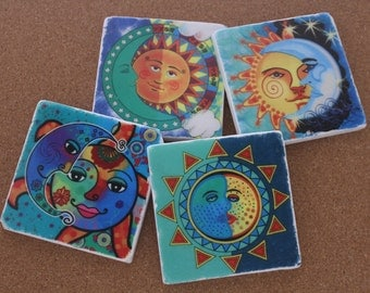 Set of 4 Tumbled Marble Tile Coasters - Sun and Moon