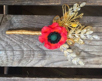 Red poppy boutonniere with gold buttrfly and bead wheat ears. Corsage. Grooms boutonniere.
