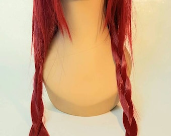 Long Red Wig, Red Wig, Long Red Wig with Layers, Long Red Wig with Sweeping Bangs, Deep Red Wig, Red Wig with Sweeping Bangs