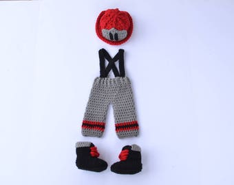 Handmade crochet baby firefighter set; baby boy; helmet; hat; pants and suspenders; baby booties; photography prop; baby shower gift