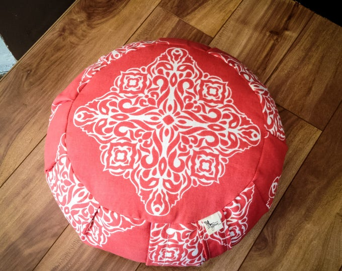 Meditation cushion zafu Coral Mandala cotton fabric with organic buckwheat hulls