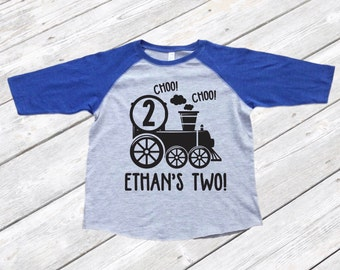 Two Year Old Personalized Train Raglan Shirt - Boys' 2nd Birthday Shirt - Girls' 2nd Birthday Shirt - Two Year Old Train Birthday Tee