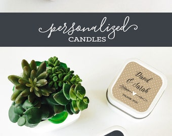 Wedding Candles - Wedding Candle Favors - Personalized Wedding Favors - Wedding Favor Ideas - Candle Wedding Favors  (EB2077GDN) 12| pcs