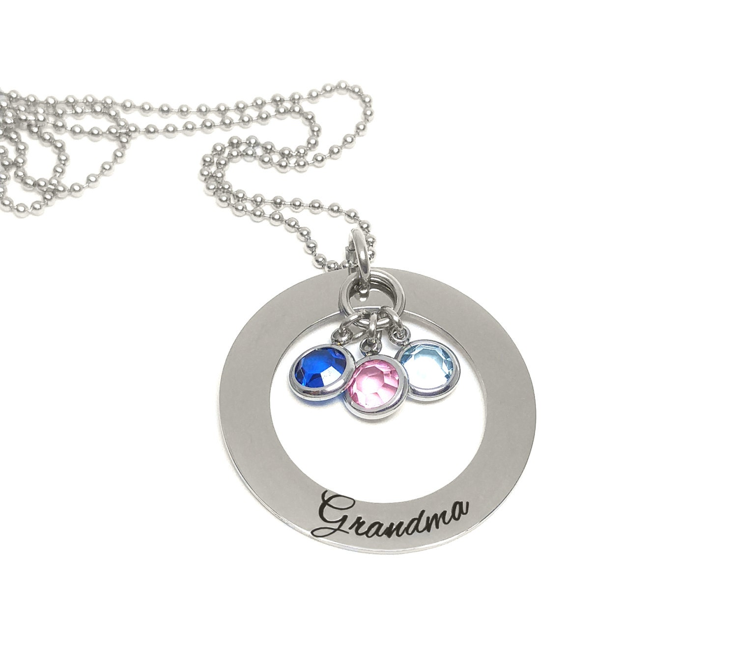 Grandmother birthstone necklace personalized hand for Grandmother jewelry you can add to