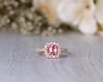 Pink Sapphire and Halo Diamond Engagement Ring | Prong Setting | Solid 14K Gold | Colored Stone Wedding Ring | Fine Jewelry | Free Shipping
