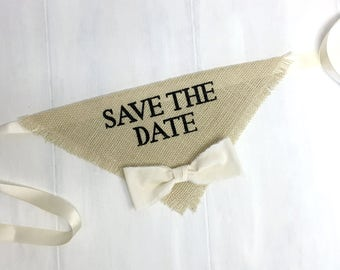 Custom Bowtie Color Ivory Wedding Dog Bandana Engagement Save the Date Cards Engagement Photos Boy Bow tie Engagement