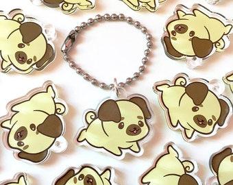 "Cute Baby Pug Kawaii Puppy Dog Double Sided 1"" Clear Acrylic Planner Phone Purse Mini Charm"