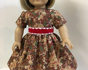 "18 inch Cute SPARKLING ""GINGERBREAD MAN"" Holiday Dress, 18"" Ag American Doll, 18"" Doll Clothes, Adorable 'Sparkling Gingerbread' Men Dress!"