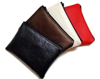 Faux Leather Card Holder, Small Zipper Pouch, Coin Purse, Zipper Bag, Gadget Pouch – 5 selections, White, Cream, Red, Brown, Black