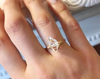 Minimalist Large Herkimer Diamond Ring // Delicate Druzy Ring // Herkimer Jewelry // Handmade Ring