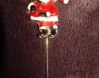 Vintage Christmas Stick Pin Gold Tone Red Enamel Santa Stick Pin Santa Holiday Pin